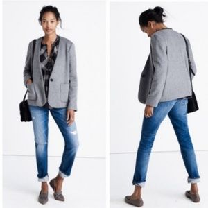 Madewell  Oversized Relaxed Fit Grey Wool Blazer